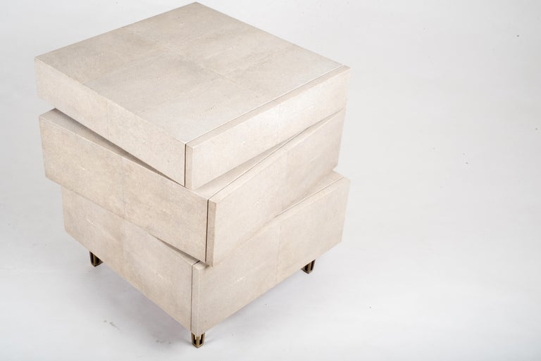 Inlay Stacked Bedside Table in Cream Shagreen and Bronze-Patina Brass by R&Y Augousti For Sale