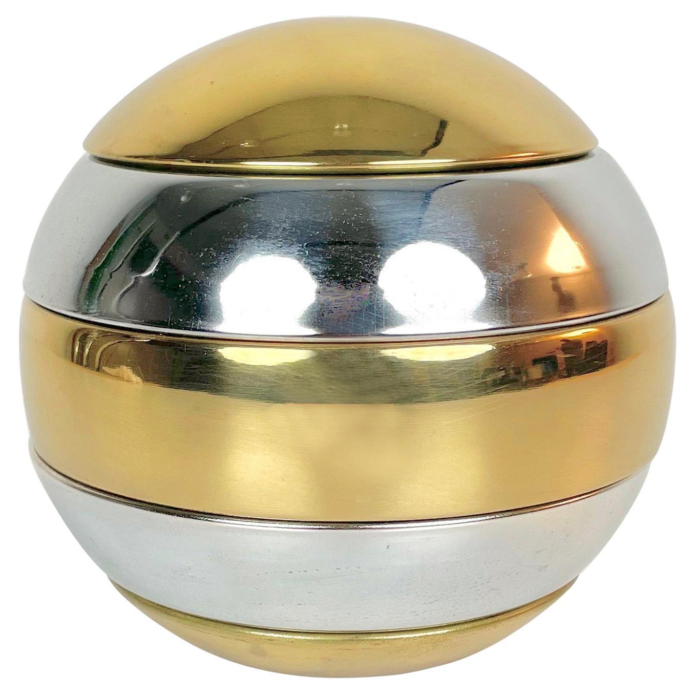 Stacked Brass & Chrome Globe Ashtray Tommaso Barbi Style, Italy, 1970s