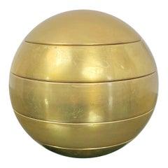 Stacked Brass Globe Ashtray Bowl Attributed to Tommaso Barbi, Italy, 1970s