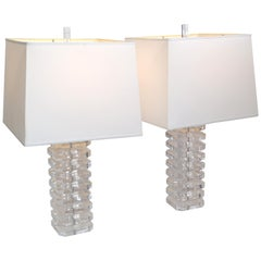 Stacked Clear Lucite Table Lamps & Off White Shade Mid-Century Modern, Pair