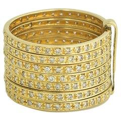 Stacked Diamond 14 Karat Yellow Gold Ring