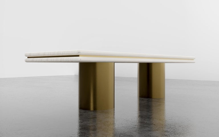 American STACKED DINING TABLE - Modern Wooden Dinning Table with Metal Inlay and Bases For Sale