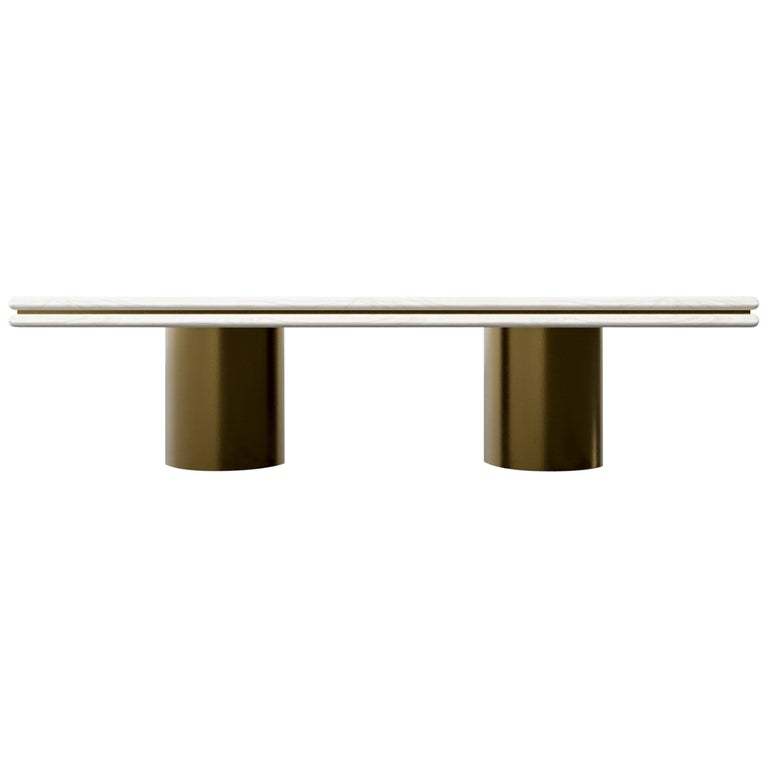 STACKED DINING TABLE - Modern Wooden Dinning Table with Metal Inlay and Bases For Sale
