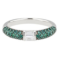 Stacked Half Eternity Band Ring with Pave Set Emeralds and Baguette Diamonds