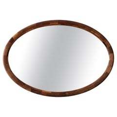 Stacked Horizontal Oval Mirror by Richard Haining, Shown in Walnut, Customizable