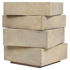 Stacked Jewelry Chest in Cream Shagreen by R&Y Augousti