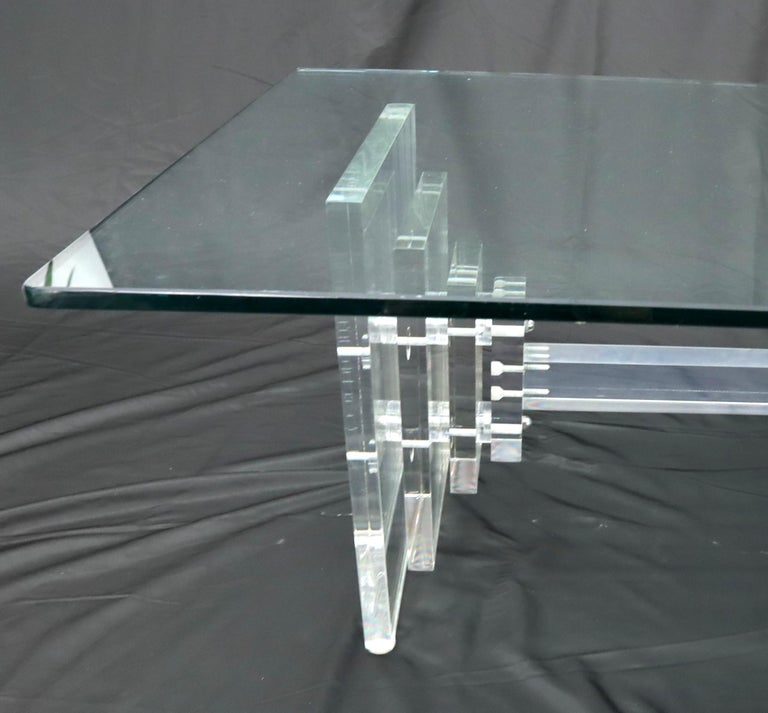 Mid-Century Modern Stacked Lucite Base Rectangular Glass Top Coffee Table For Sale