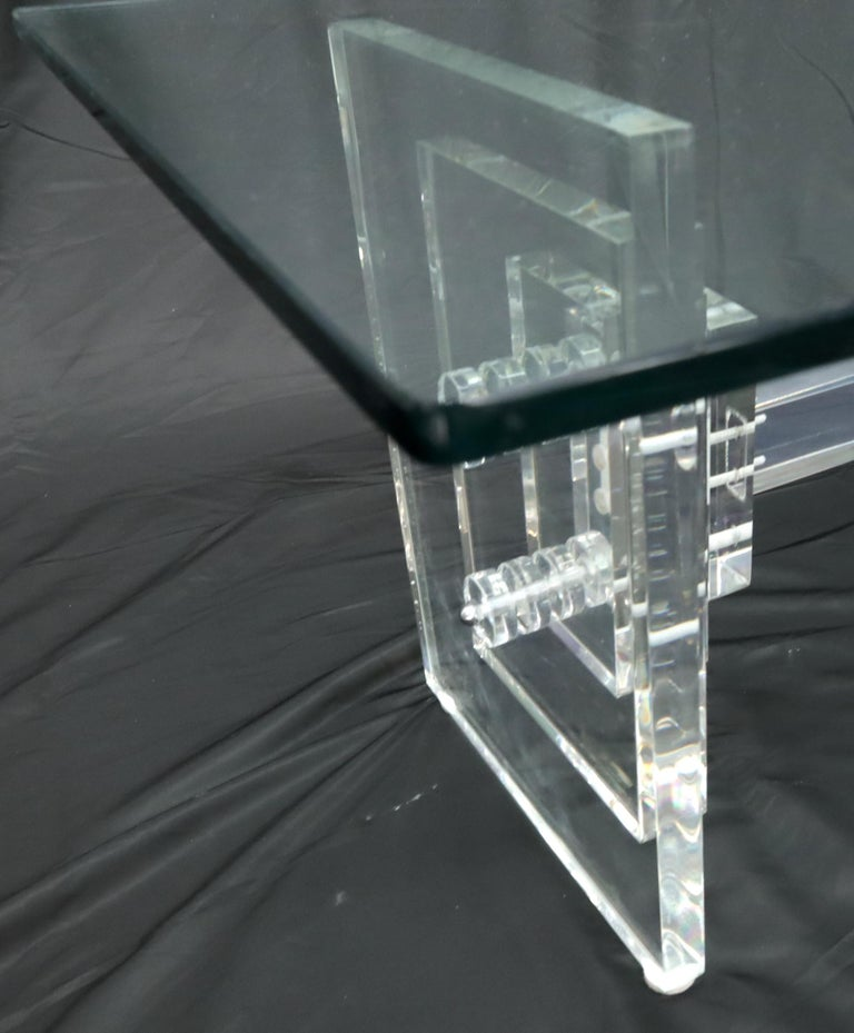 American Stacked Lucite Base Rectangular Glass Top Coffee Table For Sale