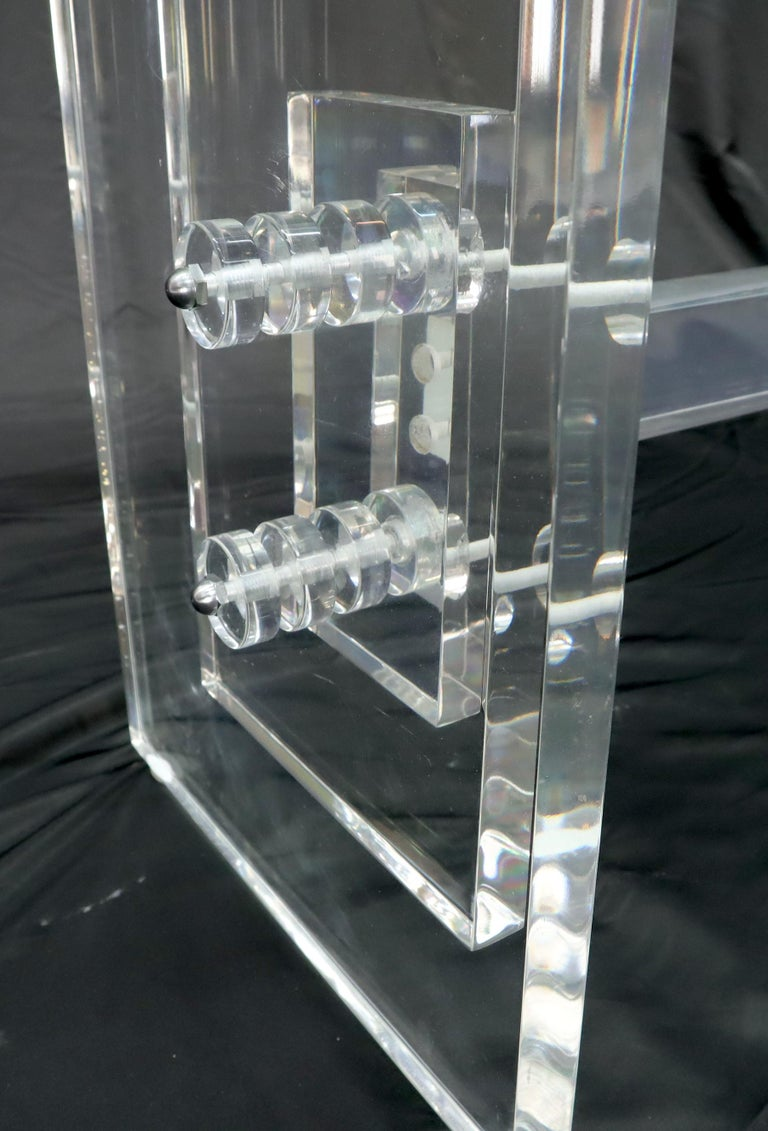 Stacked Lucite Base Rectangular Glass Top Coffee Table In Good Condition For Sale In Rockaway, NJ