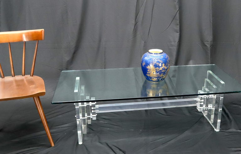 Stacked Lucite Base Rectangular Glass Top Coffee Table For Sale 1