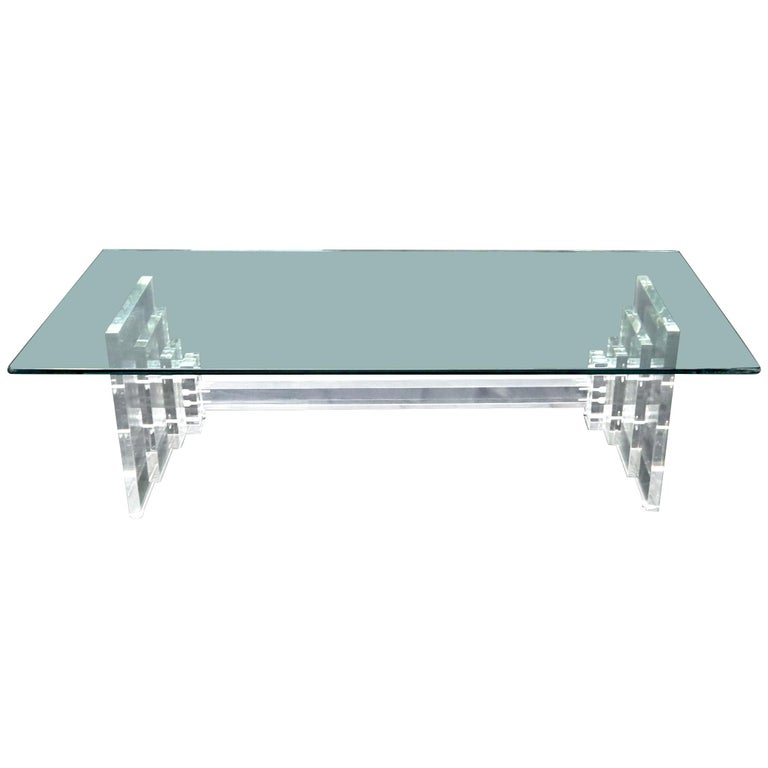Stacked Lucite Base Rectangular Glass Top Coffee Table For Sale