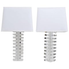 Stacked Lucite Table Lamps, Pair