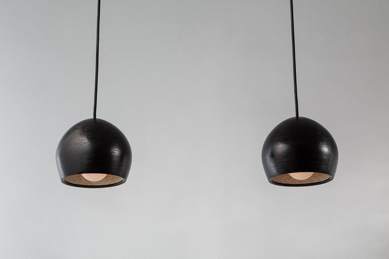 American Stacked Ostrich Medium Pendant Light by Richard Haining, Ebonized Ash, Custom For Sale
