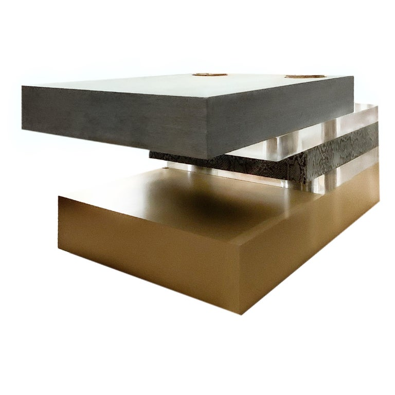 Stacked plinth brass and Lucite coffee cocktail table Susan Hornbeak-Ortiz, 2000s. Custom cocktail table, gorgeous sculptural work. Pale gray oak, polished brass plinth, Lucite and other luxury materials. MSRP of over 13,800 USD.