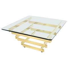 Stacked Polished Lacquered Brass Bars Base Glass Top Square Coffee Table