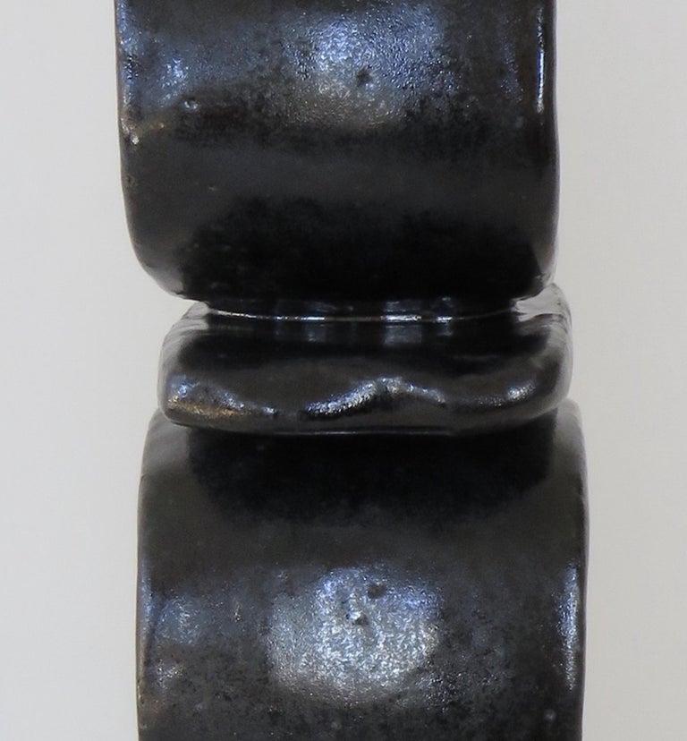 Stacked Rings and Bars, Handbuilt Shiny Black Totemic Ceramic Sculpture 3