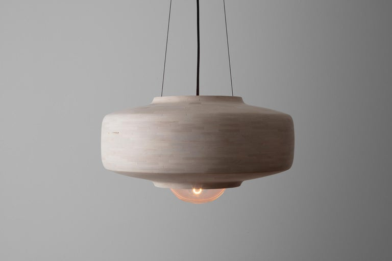 This STACKED Saucer shaped pendant made of Bleached Maple is hand-built custom per your specifications. Larger or smaller, another wood species, a different profile, or something else, they are customizable. Hand-built with tiny blocks of wood; each