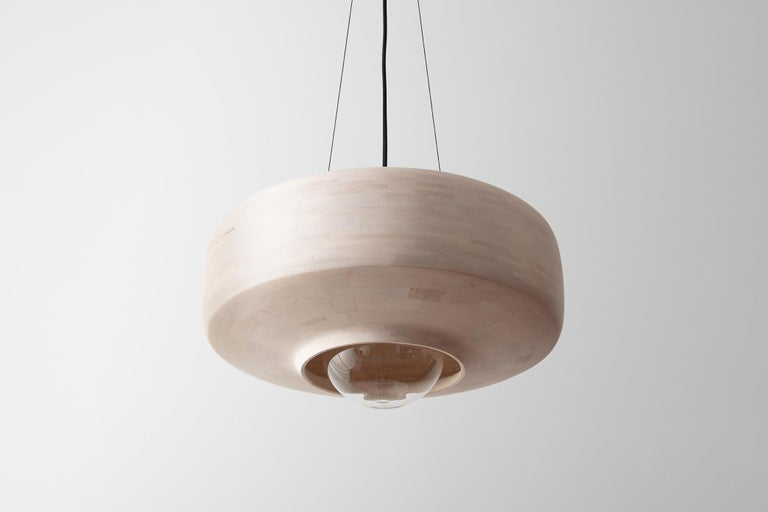 Modern STACKED Bleached Maple Saucer Pendant Light, by Richard Haining, Customizable For Sale