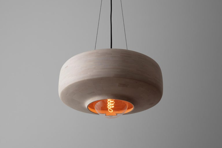 American STACKED Bleached Maple Saucer Pendant Light, by Richard Haining, Customizable For Sale