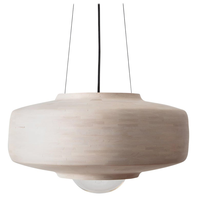 STACKED Bleached Maple Saucer Pendant Light, by Richard Haining, Customizable For Sale