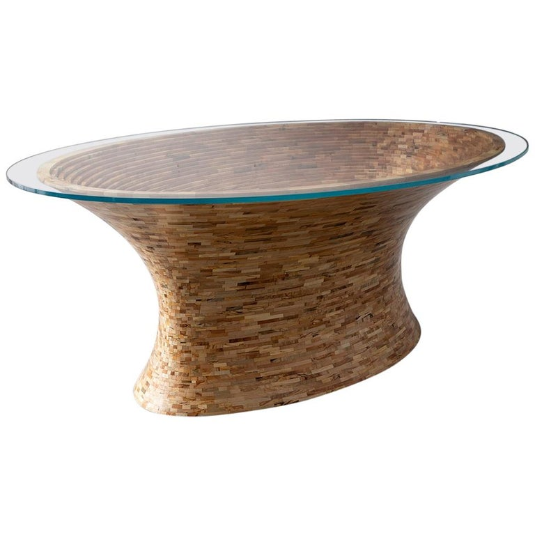 STACKED Oval Spalted Maple Coffee Table by Richard Haining, Available Now For Sale