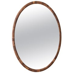 STACKED Wooden Oval Mirror by Richard Haining, shown in Walnut, Customizable