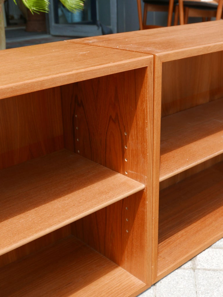 Great for use under windows or stacking one on top of the other. The adjustability of these bookcases is what sold me on them. Solid wood under the teak adds some strength to the shelving.