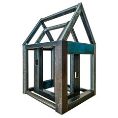 Stacking House Structure, Welded Steel Decorative Object Made w/ Salvaged Steel