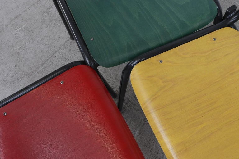 Stacking School or Restaurant Chairs with Multicolored Seats 2