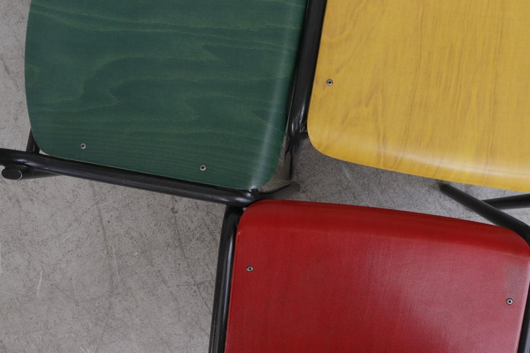 Stacking School or Restaurant Chairs with Multicolored Seats 3