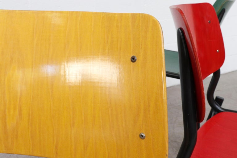 Stacking School or Restaurant Chairs with Multicolored Seats 4