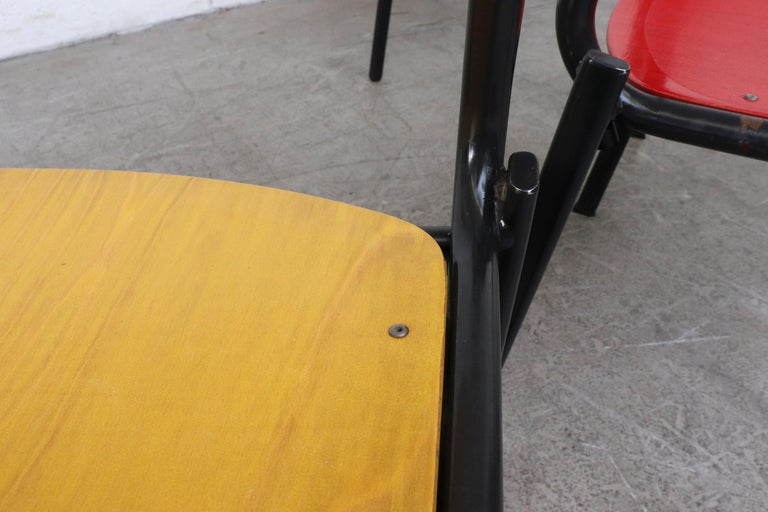 Stacking School or Restaurant Chairs with Multicolored Seats 5