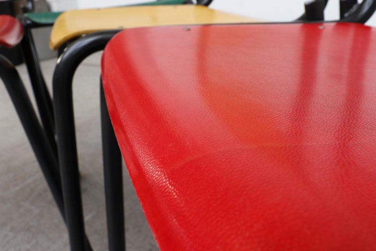 Stacking School or Restaurant Chairs with Multicolored Seats 8