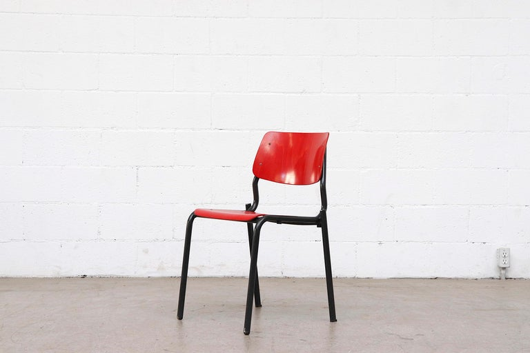 Mid-Century Modern Stacking School or Restaurant Chairs with Multicolored Seats