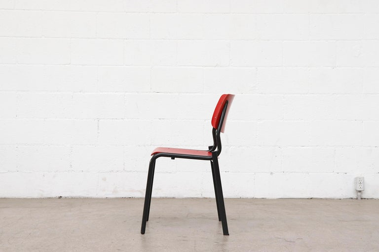 Dutch Stacking School or Restaurant Chairs with Multicolored Seats