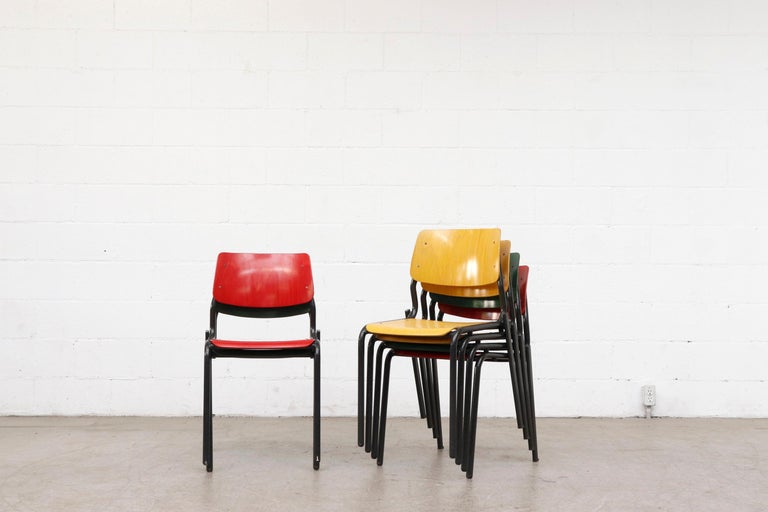 Stacking School or Restaurant Chairs with Multicolored Seats In Good Condition In Los Angeles, CA