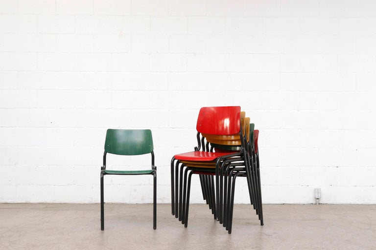 Late 20th Century Stacking School or Restaurant Chairs with Multicolored Seats