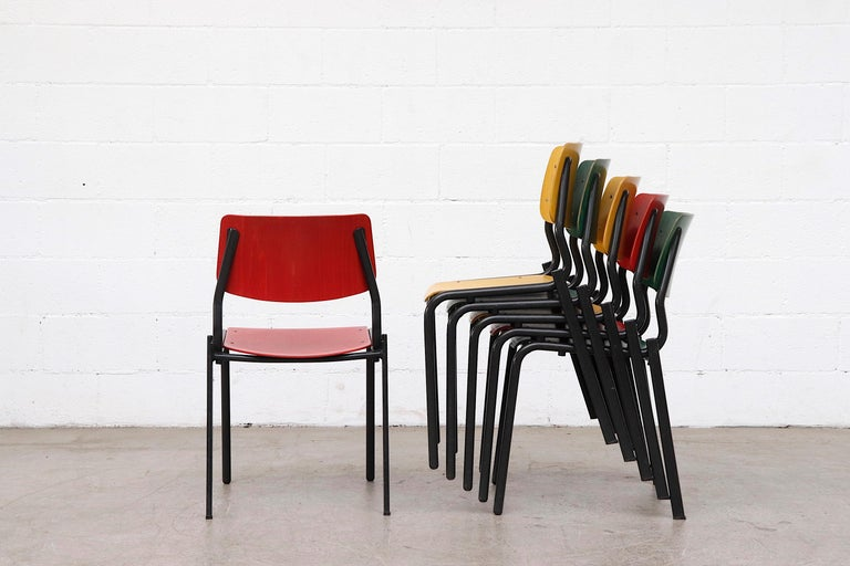 Metal Stacking School or Restaurant Chairs with Multicolored Seats