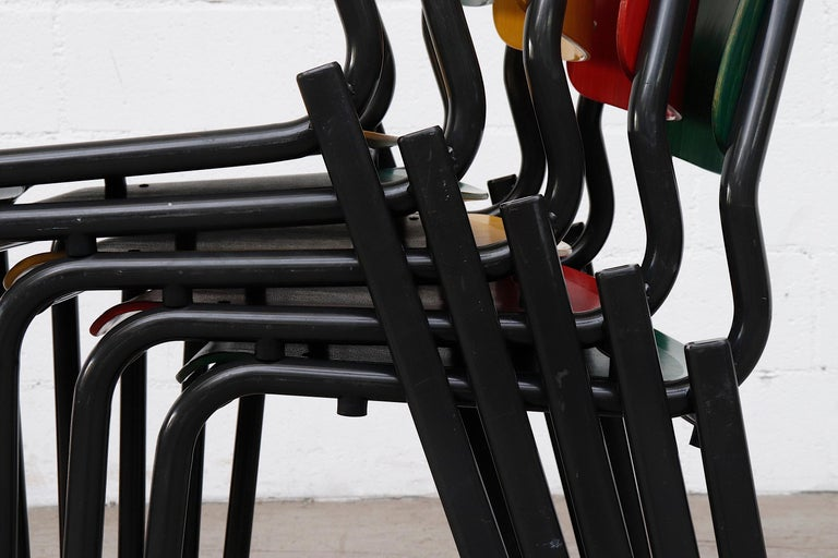 Stacking School or Restaurant Chairs with Multicolored Seats 1