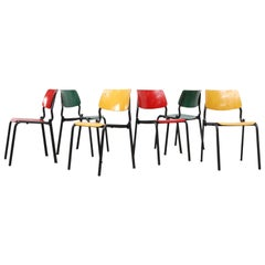 Stacking School or Restaurant Chairs with Multicolored Seats