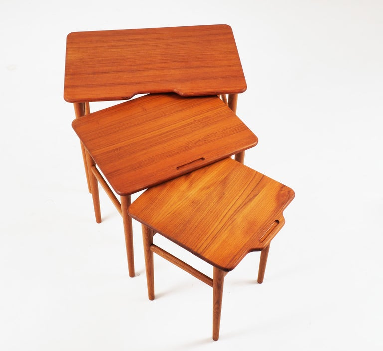 Stacking Tables in Massive Teak by Kurt Östervig, Produced by Jason, Denmark In Good Condition In Goteborg, SE