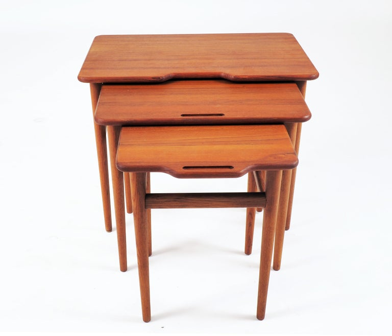 Mid-20th Century Stacking Tables in Massive Teak by Kurt Östervig, Produced by Jason, Denmark