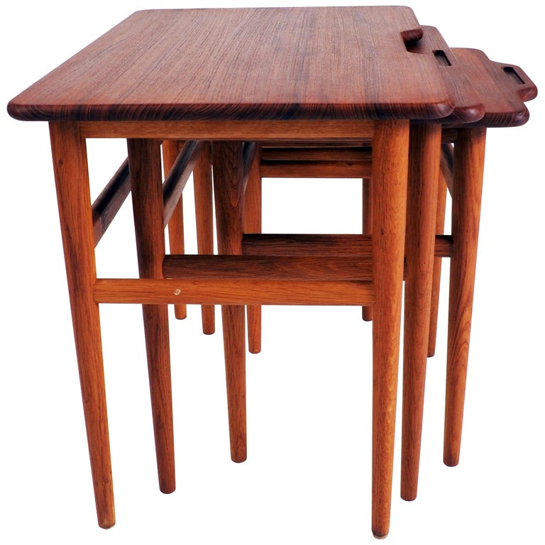 Stacking Tables in Massive Teak by Kurt Östervig, Produced by Jason, Denmark