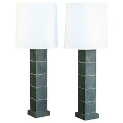 Stacking Wood Block Pair Custom Table Lamps of Unique Design