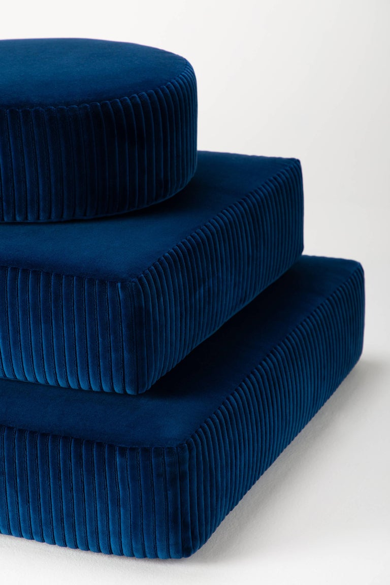 The stacks bench is an elegant interpretation of stacked meditation stones and offers the functionality of meditation cushions. Upholstered in a luxurious velvet, each layer can be removed to provide the opportunity for a different seated