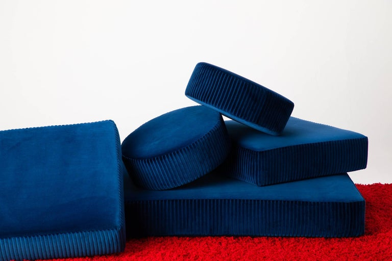 Stacks Bench by Another Human, Modern Upholstered Modular Bench, Corduroy Velvet In New Condition For Sale In Los Angeles, CA