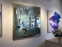 'Coastal Prominence II', Large Contemporary Mixed-Media Painting on Mirror