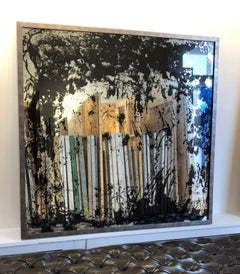 'Eclipsing Midnight', Large Contemporary Mixed-Media Painting on Mirror