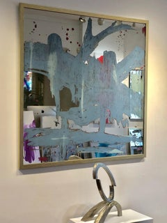 'Southern Skies', Large Framed Contemporary Mixed-Media Painting on Mirror