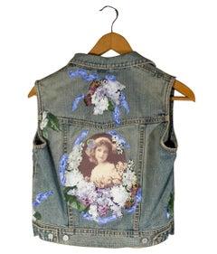 'Child's Sleeveless Blue Jean Jacket' original mixed media textile
